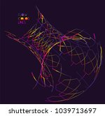 moving colorful lines of... | Shutterstock .eps vector #1039713697