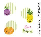 cute fruits kawaii cartoons | Shutterstock .eps vector #1039714633
