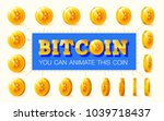 set of golden coins with... | Shutterstock .eps vector #1039718437