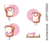 cute sandwiches cartoons | Shutterstock .eps vector #1039720063