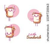 cute sandwiches cartoons | Shutterstock .eps vector #1039720063