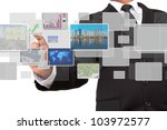 businessman pushing on a touch... | Shutterstock . vector #103972577