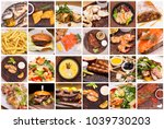 collage of restaurant dishes | Shutterstock . vector #1039730203