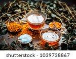 close up of fenugreek tea with... | Shutterstock . vector #1039738867
