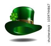 green leprechaun hat with... | Shutterstock .eps vector #1039744867