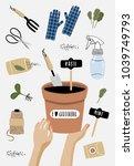 garden poster. vector... | Shutterstock .eps vector #1039749793