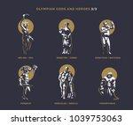 olympian gods and heroes. set 3 ... | Shutterstock .eps vector #1039753063