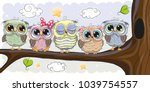 five cute owls is sitting on a...   Shutterstock .eps vector #1039754557