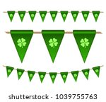 green festive flags with... | Shutterstock .eps vector #1039755763