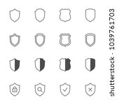 shields outline icons set