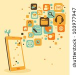 smart phone and social  media ... | Shutterstock .eps vector #103977947