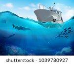 fishing boat in the sea. 3d...   Shutterstock . vector #1039780927