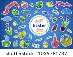 colorful vector set of easter... | Shutterstock .eps vector #1039781737