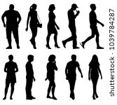 silhouette group of people... | Shutterstock . vector #1039784287
