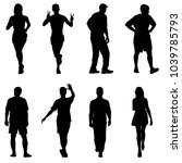 silhouette group of people... | Shutterstock . vector #1039785793
