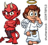 cartoon little angel and devil. ...
