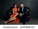 attractive young couple is... | Shutterstock . vector #1039808167