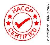 grunge red haccp  hazard... | Shutterstock .eps vector #1039809097