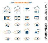 cloud computing icon set.... | Shutterstock .eps vector #1039827493