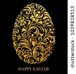 floral easter egg with golden...   Shutterstock .eps vector #1039828513