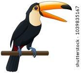 happy cute cartoon toucan | Shutterstock . vector #1039835167