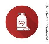 pills bottle with heart flat...   Shutterstock .eps vector #1039842763