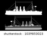 silhouette  of a ship   vector... | Shutterstock .eps vector #1039853023