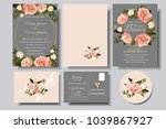 set of wedding invitation card... | Shutterstock .eps vector #1039867927