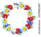 a wreath of wild flowers. in a... | Shutterstock .eps vector #1039882687