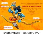 illustration of lord rama with... | Shutterstock .eps vector #1039892497