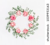 floral frame wreath of red rose ... | Shutterstock . vector #1039953163