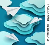 3d vector paper cut clouds with ... | Shutterstock .eps vector #1039994977