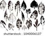 vector branches and leaves.hand ... | Shutterstock .eps vector #1040006137