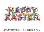 happy easter greeting card with ... | Shutterstock .eps vector #1040014717