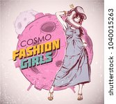 space fashion illustration.... | Shutterstock .eps vector #1040015263