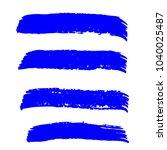 set of hand painted blue brush... | Shutterstock .eps vector #1040025487