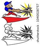 baseball player swinging bat... | Shutterstock .eps vector #1040028757