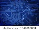 abstract blue circuit digital... | Shutterstock . vector #1040030833