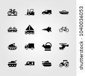 transport icons set. vector... | Shutterstock .eps vector #1040036053