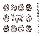black lettering happy easter... | Shutterstock .eps vector #1040039197