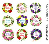 flower wreath for spring season ... | Shutterstock .eps vector #1040039797