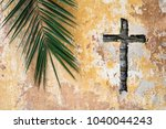 palm branch and christian cross ... | Shutterstock . vector #1040044243