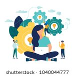 the woman is working on the... | Shutterstock .eps vector #1040044777