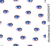 watercolor eyes on a white... | Shutterstock . vector #1040049097