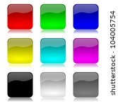 Colored and glossy empty app buttons set with reflection on white background illustration - stock photo
