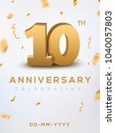10 anniversary gold numbers... | Shutterstock .eps vector #1040057803
