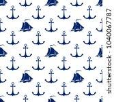 seamless maritime pattern  blue ... | Shutterstock .eps vector #1040067787