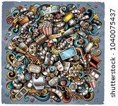 cartoon vector doodles cinema... | Shutterstock .eps vector #1040075437