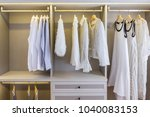 modern wooden wardrobe with... | Shutterstock . vector #1040083153
