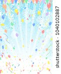 fireworks and confetti and blue ... | Shutterstock .eps vector #1040102887
